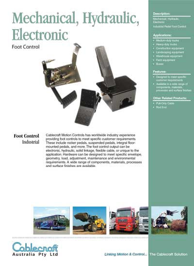Mechinical Hydraulic Electronic Foot Control - Cablecaft Australia