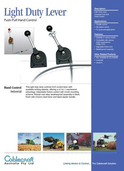 Light Duty Lever Push-Pull Hand Control - Cablecraft Australia