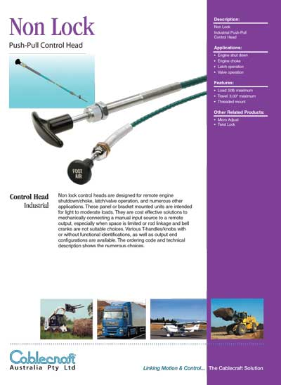 Non-Lock Push-Pull Control Head - Cablecraft Australia - Mechanical Cables