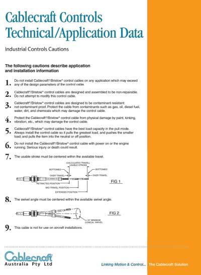 Cablecraft Controls Technical Application Data - Cablecraft Australia - Mechanical Cables