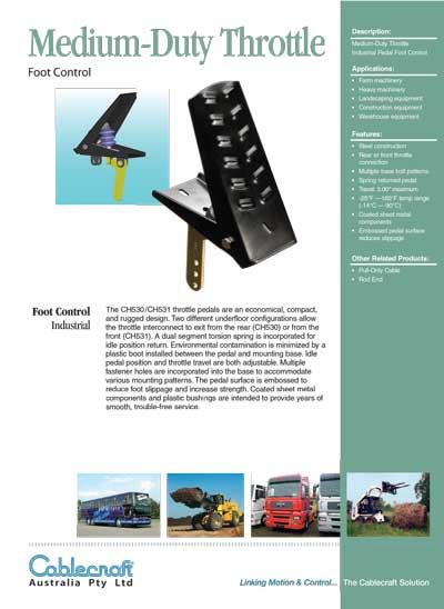 Medium Throttle Foot Control - Cablecraft Australia