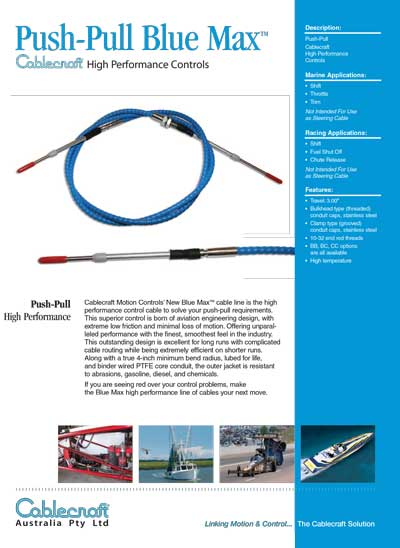 Push-Pull Blue Max - Mechanical Cables - CableCraft Australia