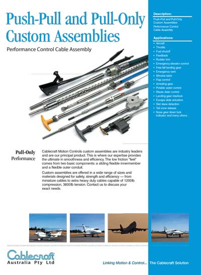 Push-Pull and Pull-Only Custom Assemblies - Cablecraft Australia - Mechanical Cables
