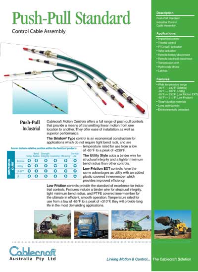 Push-Pull Standard Control Cable Assembly - Cablecraft Australia - Mechanical Cables